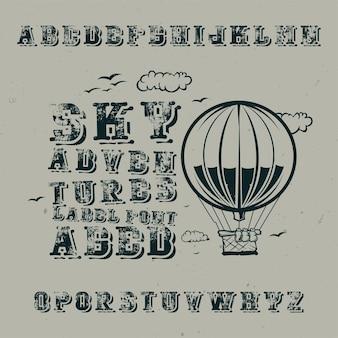 Vintage label schriftart namens sky adventures