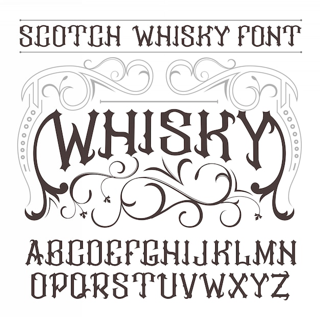 Vintage label schriftart whisky-stil