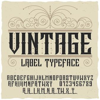 Vintage label schriftetikett