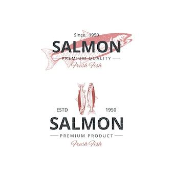 Vintage lachsfisch-logo-vorlage für restaurant