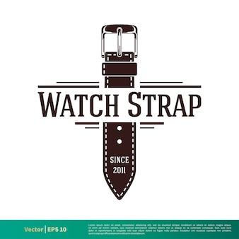 Vintage leder watchstrap vektor logo vorlage