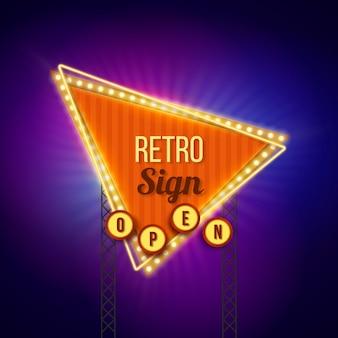 Vintage leuchtendes plakat im flachen design