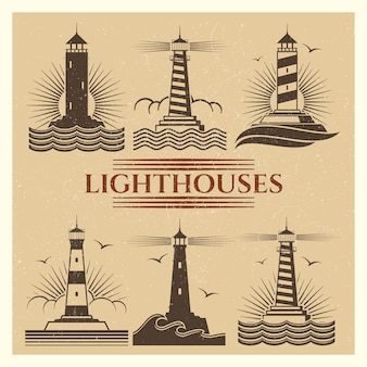 Vintage leuchttürme logos gesetzt