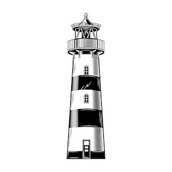 Vintage leuchtturm gebäude vektor-illustration. monochromes klassisches leuchtfeuer.