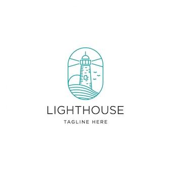 Vintage leuchtturm leuchtturm auf küstenstrand logo vorlage
