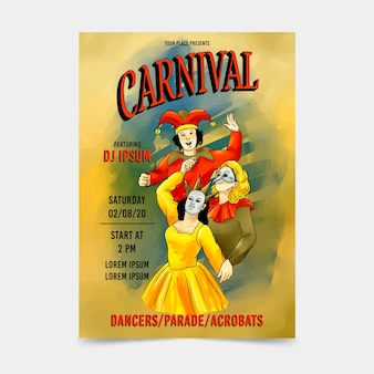 Vintage leute mit maskenkarnevals-parteiplakat