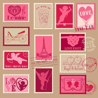 Vintage liebe valentinstag briefmarken