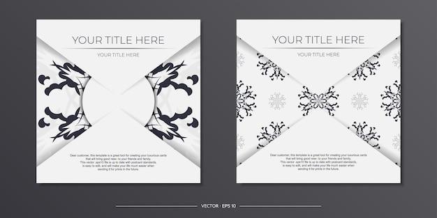 Vintage light color postkartenvorbereitung mit abstrakten mustern. vorlage für print-design-einladungskarte mit mandala-ornament.