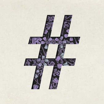 Vintage lila hashtag-symbol-typografie