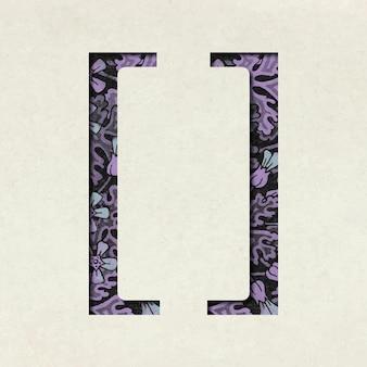 Vintage lila linke und rechte klammersymboltypografie