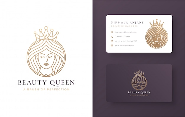 Vintage line art queen logo design