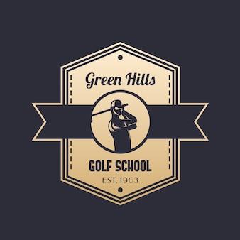 Vintage-logo der golfschule mit golfspieler