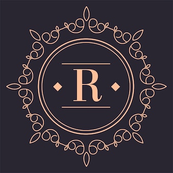 Vintage-logo der luxusmarke mit ornamenten, abgerundetes isoliertes symbol