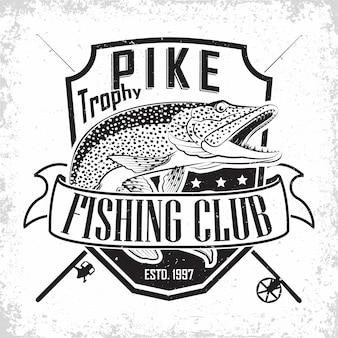 Vintage-logo des angelclubs, emblem der hechtfischer, stempel mit grange-print, emblem der fischertypografie,