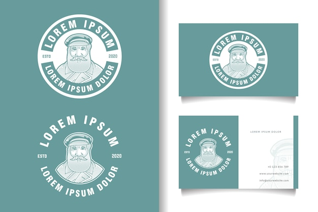 Vintage logo des bärtigen mannes und visitenkartenschablone