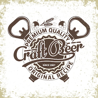 Vintage logo-design der brauerei, craft beer-emblem, bierhaus-typografie-emblem