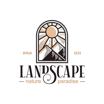 Vintage-logo-design der fensterlandschaft
