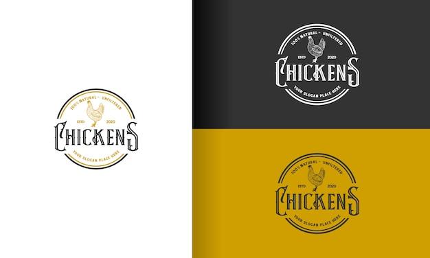 Vintage logo-design des huhns / hahns