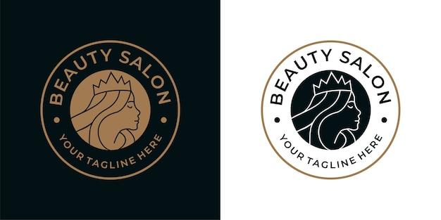 Vintage logo-design des schönheitskönigin-salons