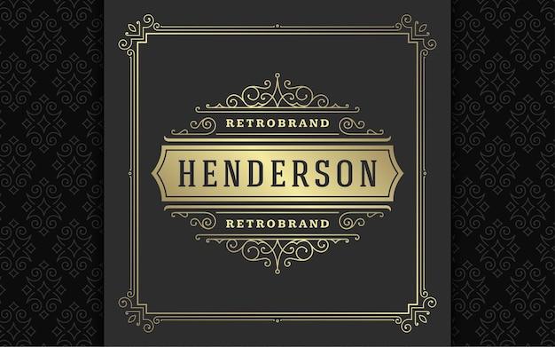 Vintage logo elegante schnörkel linie kunst anmutige ornamente viktorianischen stil vektor template design. klassisches kalligraphisches luxuswappen, königliche heraldische boutique, hotel- oder restaurantschild und verzierter rahmen