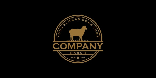 Vintage-logo-farm und ranch, logo-referenz für unternehmen