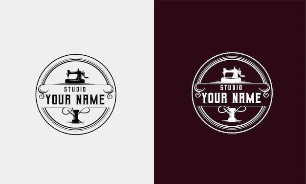 Vintage logo für atelier oder näherei