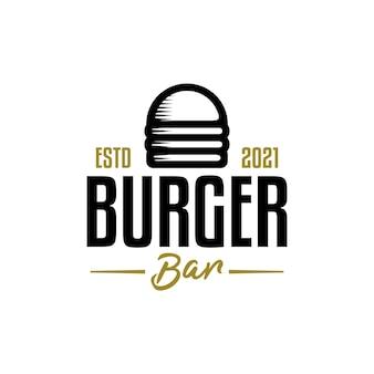 Vintage-logo für burger-bar mit einer illustration eines burgers im retro-stil.