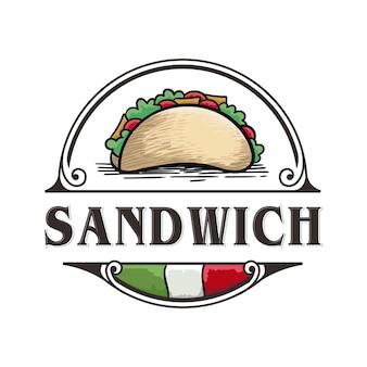 Vintage logo für sandwich