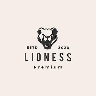 Vintage logo-logo-illustration der löwin hipster