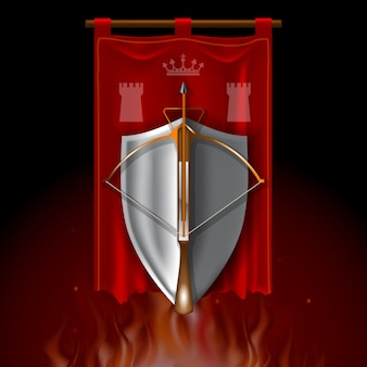 Vintage-logo mit mittelalterlicher armbrust und schild auf rotem banner.