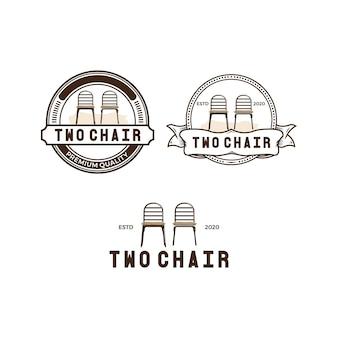 Vintage logo-pack mit zwei stühlen