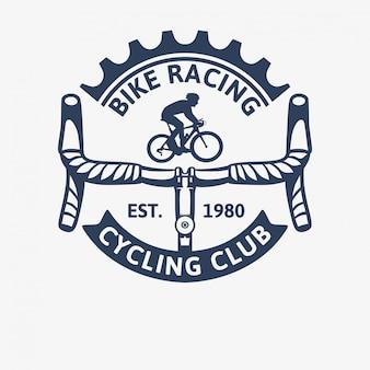 Vintage-logo-schablonenillustration des radrennens des radrennrads