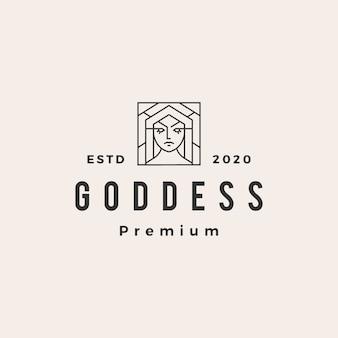Vintage-logo-symbolillustration der göttin hipster
