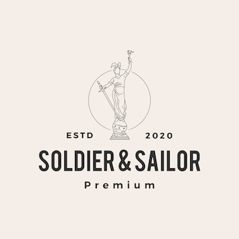 Vintage-logo-symbolillustration des soldaten und der matrosenstatue hipster