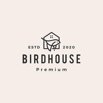 Vintage-logo-symbolillustration des vogelhaus-hipsters