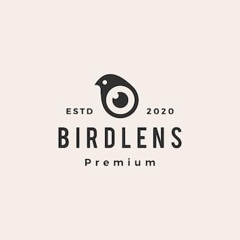 Vintage-logo-symbolillustration des vogellinsen-hipster