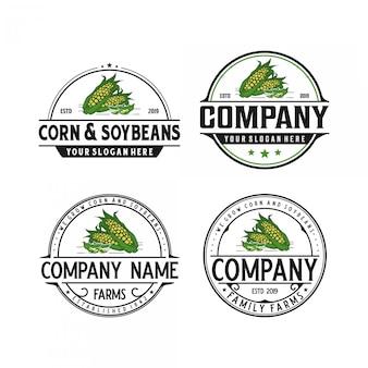 Vintage logoauslegung des mais und der sojabohnen