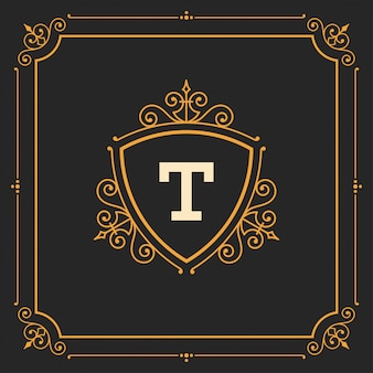 Vintage logomonogrammschablone, goldene elegante flourishverzierungen mit aufwändiger rahmengrenze