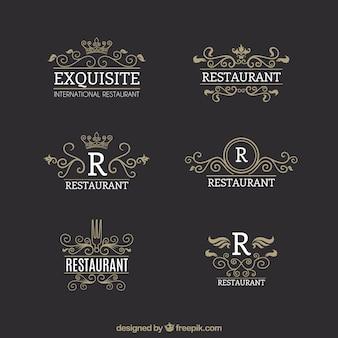 Vintage logos für gourmet restaurants