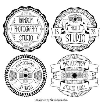 Vintage-logos in schwarz und weiß für fotostudios