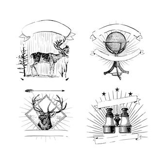 Vintage logos und aufklebersammlung