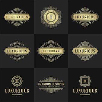 Vintage-logos und monogramme setzen elegante schnörkel, anmutige ornamente im viktorianischen stil