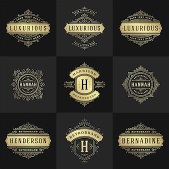 Vintage logos und monogramme setzen elegante schnörkel linie kunst anmutige ornamente im viktorianischen stil vektorvorlagendesign. klassisch verzierte kalligraphie für königliche heraldische boutique mit luxuriösem wappen, restaurant