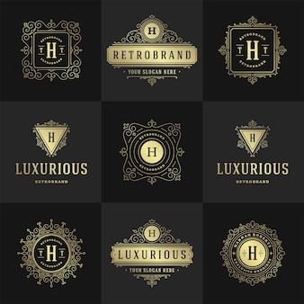Vintage logos und monogramme setzen elegante schnörkel linie kunst anmutige ornamente viktorianischen stil vektor vorlage design