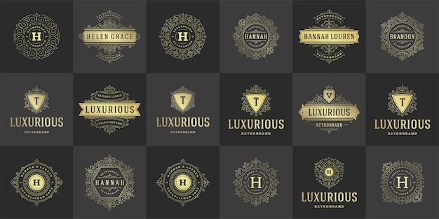 Vintage logos und monogramme setzen elegante schnörkel linie kunst anmutige ornamente viktorianischen stil vorlage.