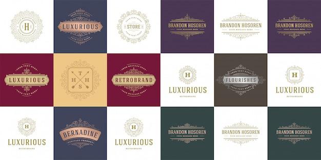Vintage logos und monogramme setzen elegante schnörkel linie kunst ornamente viktorianischen stil vorlage