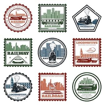 Vintage lokomotive aufkleber und briefmarken set