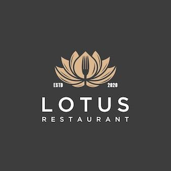 Vintage lotusblumen- und gabellogo für restaurant