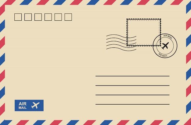 Vintage luftpostumschlag mit briefmarke, portokarte.