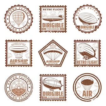 Vintage luftschiff briefmarken mit luftschiffen oder zeppeline heißluftballons propeller isoliert